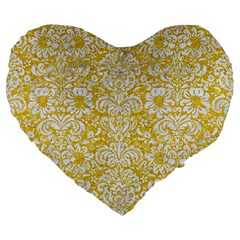 Damask2 White Marble & Yellow Denimhite Marble & Yellow Denim Large 19  Premium Heart Shape Cushions