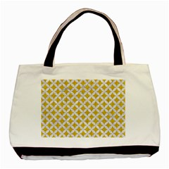 Circles3 White Marble & Yellow Denim Basic Tote Bag