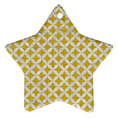 Circles3 White Marble & Yellow Denim Star Ornament (two Sides)