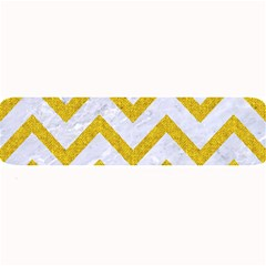 Chevron9 White Marble & Yellow Denim (r) Large Bar Mats