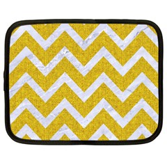 Chevron9 White Marble & Yellow Denim Netbook Case (xxl)