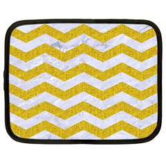 Chevron3 White Marble & Yellow Denim Netbook Case (xxl)