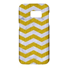 Chevron3 White Marble & Yellow Denim Samsung Galaxy S7 Hardshell Case