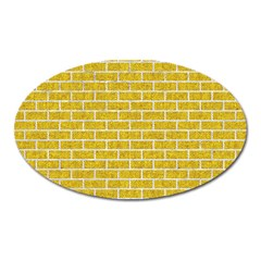 Brick1 White Marble & Yellow Denim Oval Magnet
