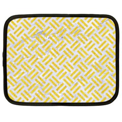 Woven2 White Marble & Yellow Colored Pencil (r) Netbook Case (xxl)