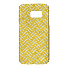 Woven2 White Marble & Yellow Colored Pencil Samsung Galaxy S7 Hardshell Case