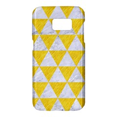 Triangle3 White Marble & Yellow Colored Pencil Samsung Galaxy S7 Hardshell Case