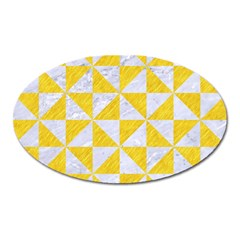 Triangle1 White Marble & Yellow Colored Pencil Oval Magnet