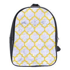 Tile1 White Marble & Yellow Colored Pencil (r) School Bag (large)