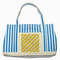 Stripes3 White Marble & Yellow Colored Pencil (r) Striped Blue Tote Bag