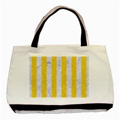 Stripes1 White Marble & Yellow Colored Pencil Basic Tote Bag