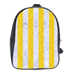 Stripes1 White Marble & Yellow Colored Pencil School Bag (large)