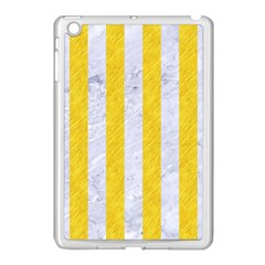 Stripes1 White Marble & Yellow Colored Pencil Apple Ipad Mini Case (white)