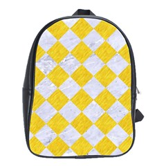 Square2 White Marble & Yellow Colored Pencil School Bag (large)