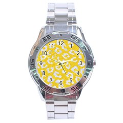 Skin5 White Marble & Yellow Colored Pencil (r) Stainless Steel Analogue Watch
