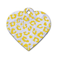 Skin5 White Marble & Yellow Colored Pencil Dog Tag Heart (two Sides)