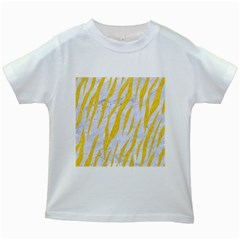 Skin3 White Marble & Yellow Colored Pencil (r) Kids White T Shirts