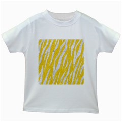 Skin3 White Marble & Yellow Colored Pencil Kids White T Shirts