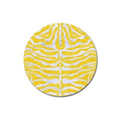 Skin2 White Marble & Yellow Colored Pencil Magnet 3  (round)