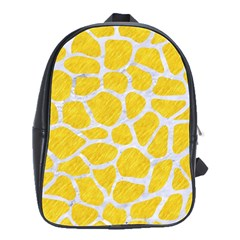 Skin1 White Marble & Yellow Colored Pencil (r) School Bag (large)