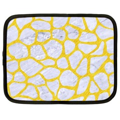 Skin1 White Marble & Yellow Colored Pencil Netbook Case (xxl)