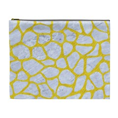 Skin1 White Marble & Yellow Colored Pencil Cosmetic Bag (xl)