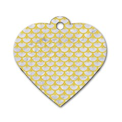 Scales3 White Marble & Yellow Colored Pencil (r) Dog Tag Heart (one Side)