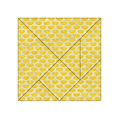 Scales3 White Marble & Yellow Colored Pencil Acrylic Tangram Puzzle (4  X 4 )