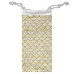 Scales1 White Marble & Yellow Colored Pencil (r) Jewelry Bag