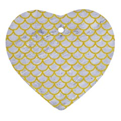 Scales1 White Marble & Yellow Colored Pencil (r) Heart Ornament (two Sides)