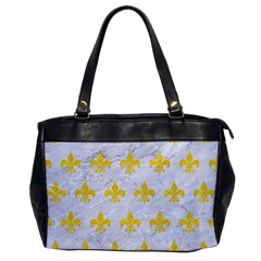 Royal1 White Marble & Yellow Colored Pencil Office Handbags