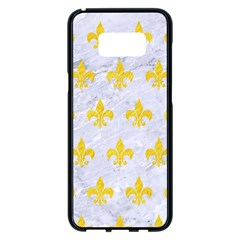 Royal1 White Marble & Yellow Colored Pencil Samsung Galaxy S8 Plus Black Seamless Case