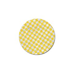 Houndstooth2 White Marble & Yellow Colored Pencil Golf Ball Marker