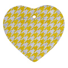 Houndstooth1 White Marble & Yellow Colored Pencil Heart Ornament (two Sides)