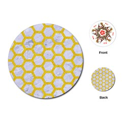 Hexagon2 White Marble & Yellow Colored Pencil (r) Playing Cards (round)