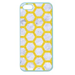 Hexagon2 White Marble & Yellow Colored Pencil (r) Apple Seamless Iphone 5 Case (color)