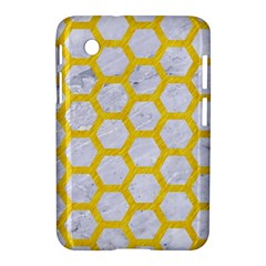 Hexagon2 White Marble & Yellow Colored Pencil (r) Samsung Galaxy Tab 2 (7 ) P3100 Hardshell Case