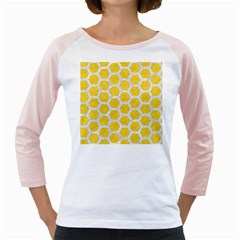 Hexagon2 White Marble & Yellow Colored Pencil Girly Raglans