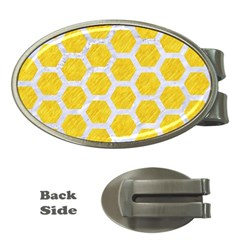 Hexagon2 White Marble & Yellow Colored Pencil Money Clips (oval)