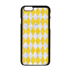 Diamond1 White Marble & Yellow Colored Pencil Apple Iphone 6/6s Black Enamel Case