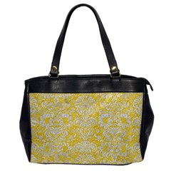 Damask2 White Marble & Yellow Colored Pencil Office Handbags