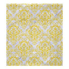 Damask1 White Marble & Yellow Colored Pencil (r) Shower Curtain 66  X 72  (large)