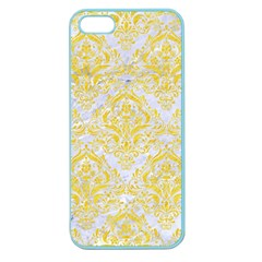 Damask1 White Marble & Yellow Colored Pencil (r) Apple Seamless Iphone 5 Case (color)