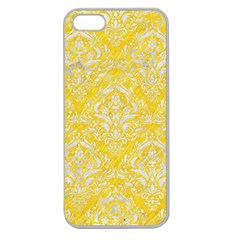 Damask1 White Marble & Yellow Colored Pencil Apple Seamless Iphone 5 Case (clear)