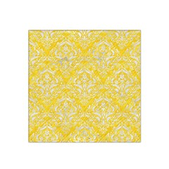 Damask1 White Marble & Yellow Colored Pencil Satin Bandana Scarf