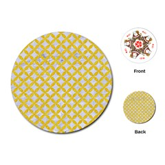 Circles3 White Marble & Yellow Colored Pencil (r) Playing Cards (round)