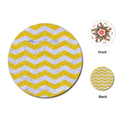 Chevron3 White Marble & Yellow Colored Pencil Playing Cards (round)