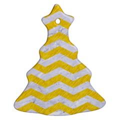 Chevron3 White Marble & Yellow Colored Pencil Christmas Tree Ornament (two Sides)