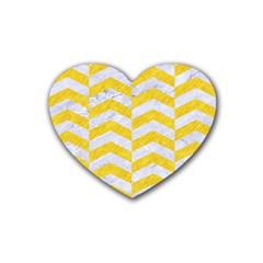 Chevron2 White Marble & Yellow Colored Pencil Rubber Coaster (heart)