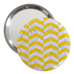 Chevron2 White Marble & Yellow Colored Pencil 3  Handbag Mirrors